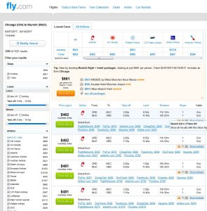CHI-MUC: Fly.com Search Results
