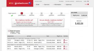 CHI-MUC: airberlin Booking Page