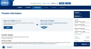 CHI-NAS: JetBlue Booking Page ($290)