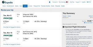 CHI-SFO: Expedia Booking Page ($127)