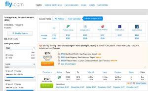CHI-SFO: Fly.com Search Results ($127)