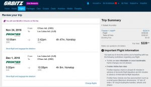 CHI-SJD: Orbitz Booking Page (NOV)