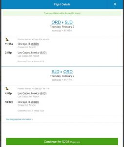 CHI-SJD: Priceline Booking Page (FEB)