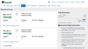 CLE-MCO: Expedia Booking Page