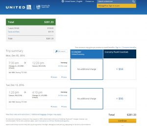 Chicago to Cancun: United Booking Page