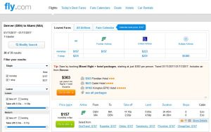 DEN-MIA: Fly.com Search Results ($157)