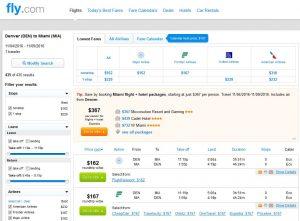 DEN-MIA: Fly.com Search Results ($167)