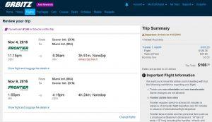 DEN-MIA: Orbitz Booking Page ($167)