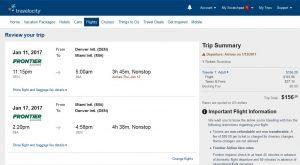 DEN-MIA: Travelocity Booking Page ($157)