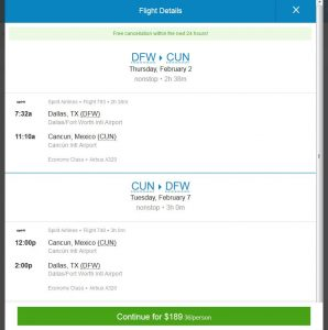 DFW-CUN: Priceline Booking Page