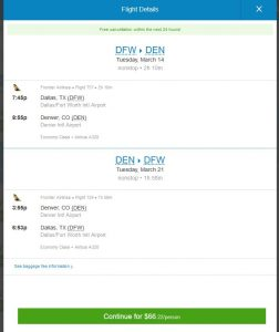DFW-DEN: Priceline Booking Page