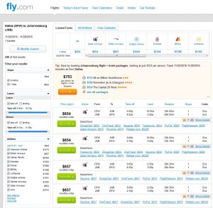 DFW-JNB: Fly.com Search Results ($654)