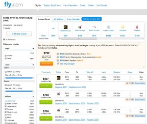 DFW-JNB: Fly.com Search Results ($697)