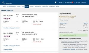 DFW-JNB: Travelocity Booking Page ($654)
