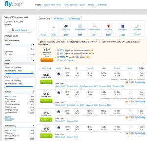 DFW-LIM: Fly.com Search Results