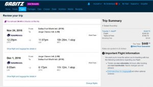 DFW-LIM: Orbitz Booking Page