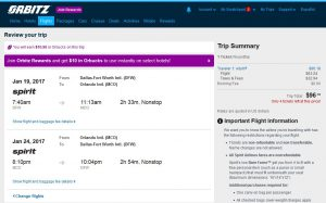 DFW-MCO: Orbitz Booking Page