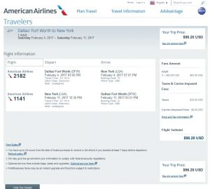 DFW-NYC: American Airlines Booking Page