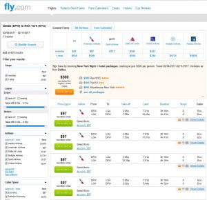 DFW-NYC: Fly.com Search Results