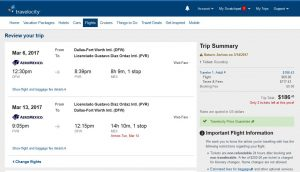 DFW-PVR: Travelocity Booking Page