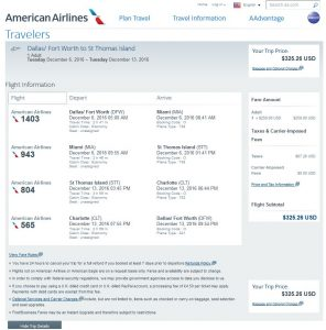 DFW-STT: American Airlines Booking Page