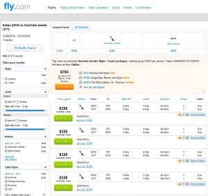DFW-STT: Fly.com Search Results