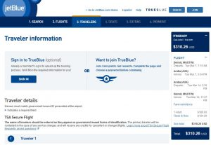 DTW-AUA: JetBlue Booking Page