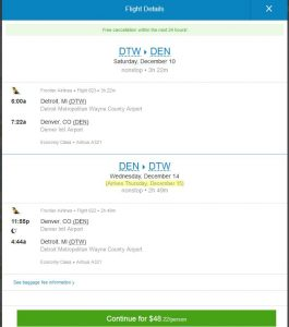 DTW-DEN: Priceline Booking Page