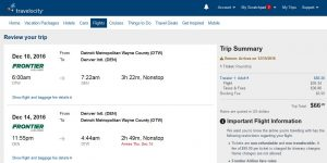DTW-DEN: Travelocity Booking Page