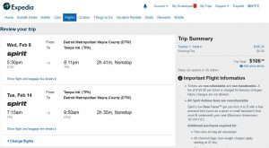 DTW-TPA: Expedia Booking Page