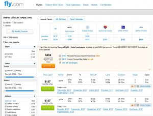 DTW-TPA: Fly.com Search Results