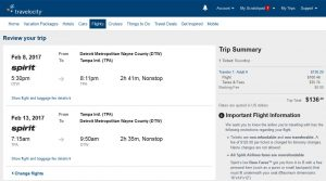 DTW-TPA: Travelocity Booking Page