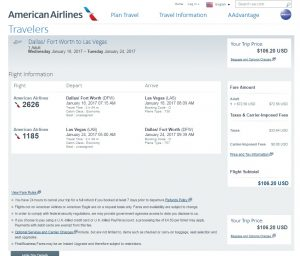Dallas to Las Vegas: American Airlines Booking Page