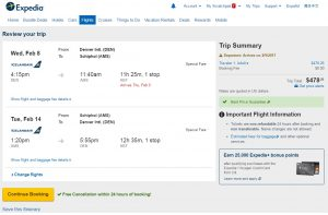 Denver to Amsterdam: Expedia Booking