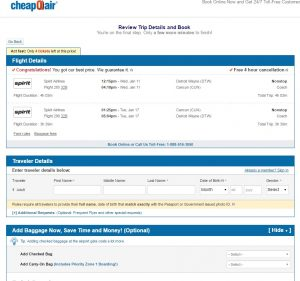 Detroit to Cancun: CheapOair Booking Page