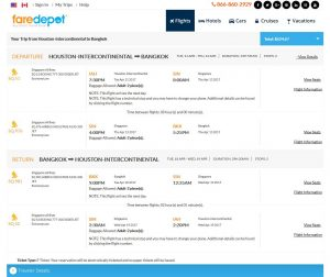 IAH-BKK: FareDepot Booking Page