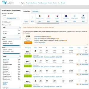 IAH-BKK: Fly.com Search Results