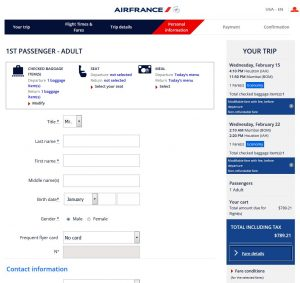 IAH-BOM: Air France Booking Page ($791)
