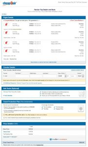 IAH-BOM: CheapOair Booking Page ($693)