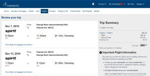 IAH-MCO: Travelocity Booking Page