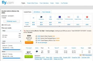 IAH-MEX: Fly.com Search Results
