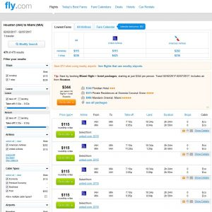 IAH-MIA: Fly.com Search Results ($115)