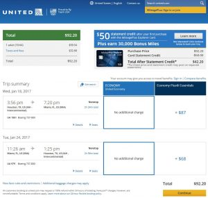 IAH-MIA: United Airlines Booking Page ($93)