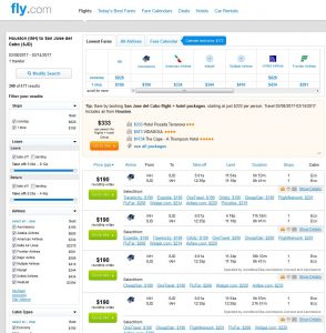 IAH-SJD: Fly.com Search Results