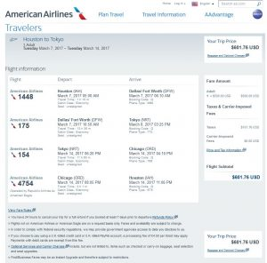 IAH-TYO: American Airlines Booking Page ($602)