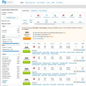 IAH-TYO: Fly.com Search Results ($609)