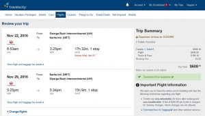 IAH-TYO: Travelocity Booking Page ($609)