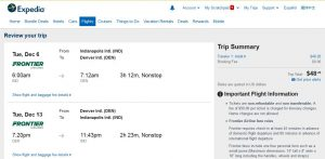IND-DEN: Expedia Booking Page