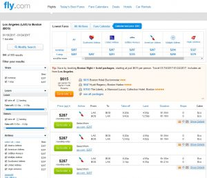 Los Angeles to Boston: Fly.com Results