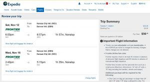 MCI-DEN: Expedia Booking Page